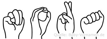 Nora in Fingersprache für Gehörlose