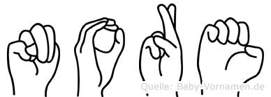 Nore in Fingersprache für Gehörlose