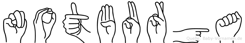 Notburga im Fingeralphabet der Deutschen Gebärdensprache