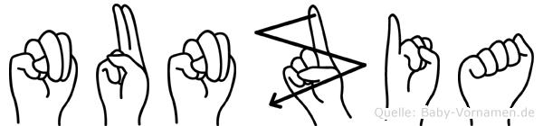 Nunzia im Fingeralphabet der Deutschen Gebärdensprache