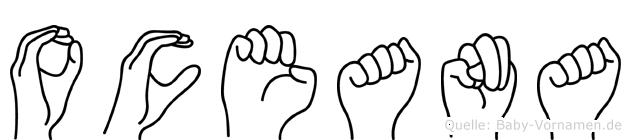 Oceana im Fingeralphabet der Deutschen Gebärdensprache
