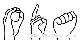 Oda in Fingersprache für Gehörlose