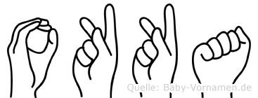 Okka im Fingeralphabet der Deutschen Gebärdensprache