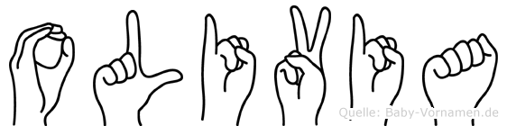 Olivia im Fingeralphabet der Deutschen Gebärdensprache