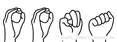 Oona im Fingeralphabet der Deutschen Gebärdensprache