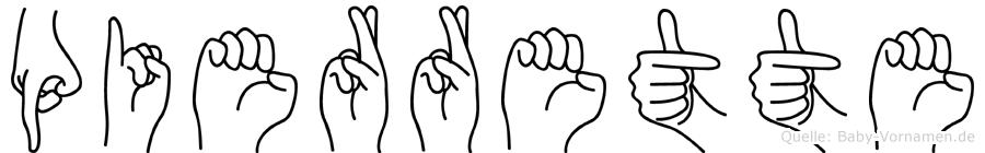Pierrette im Fingeralphabet der Deutschen Gebärdensprache