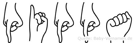 Pippa im Fingeralphabet der Deutschen Gebärdensprache