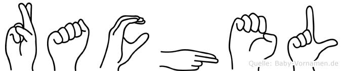 Rachel im Fingeralphabet der Deutschen Gebärdensprache