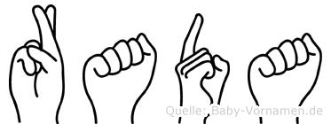 Rada im Fingeralphabet der Deutschen Gebärdensprache