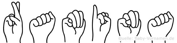 Ramina im Fingeralphabet der Deutschen Gebärdensprache
