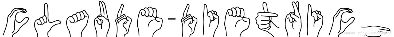 Claude-Dietrich im Fingeralphabet der Deutschen Gebärdensprache