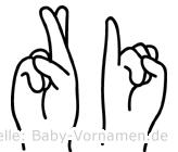 Ri in Fingersprache für Gehörlose