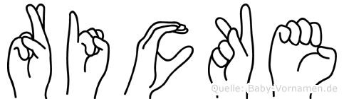 Ricke im Fingeralphabet der Deutschen Gebärdensprache