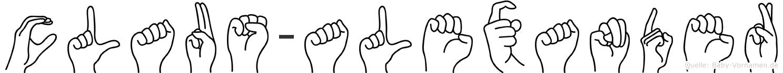Claus-Alexander im Fingeralphabet der Deutschen Gebärdensprache