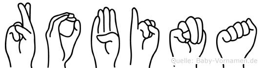 Robina im Fingeralphabet der Deutschen Gebärdensprache