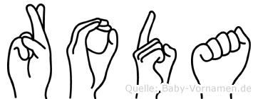 Roda im Fingeralphabet der Deutschen Gebärdensprache