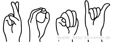 Romy im Fingeralphabet der Deutschen Gebärdensprache