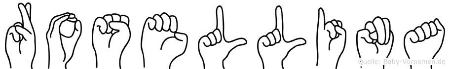 Rosellina im Fingeralphabet der Deutschen Gebärdensprache