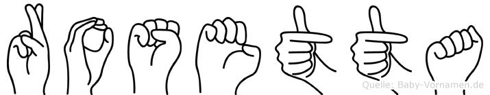 Rosetta im Fingeralphabet der Deutschen Gebärdensprache