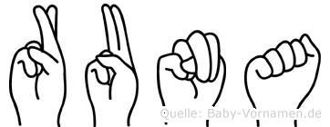Runa in Fingersprache für Gehörlose