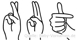 Rut im Fingeralphabet der Deutschen Gebärdensprache