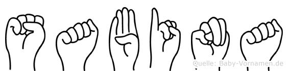 Sabina im Fingeralphabet der Deutschen Gebärdensprache