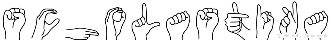Scholastika im Fingeralphabet der Deutschen Gebärdensprache