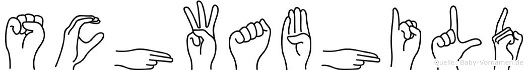 Schwabhild im Fingeralphabet der Deutschen Gebärdensprache