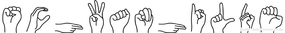 Schwanhilde im Fingeralphabet der Deutschen Gebärdensprache