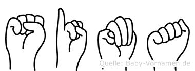 Sima im Fingeralphabet der Deutschen Gebärdensprache