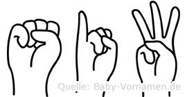 Siw in Fingersprache für Gehörlose