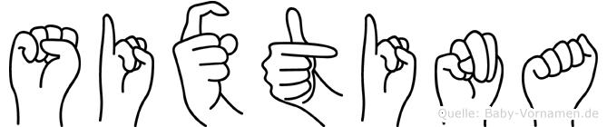 Sixtina im Fingeralphabet der Deutschen Gebärdensprache
