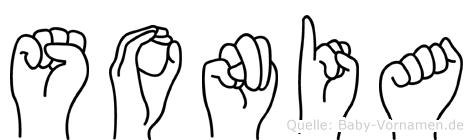 Sonia im Fingeralphabet der Deutschen Gebärdensprache