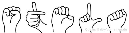 Stela im Fingeralphabet der Deutschen Gebärdensprache