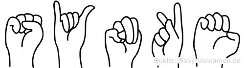 Synke im Fingeralphabet der Deutschen Gebärdensprache