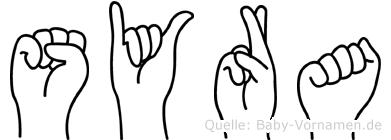Syra im Fingeralphabet der Deutschen Gebärdensprache