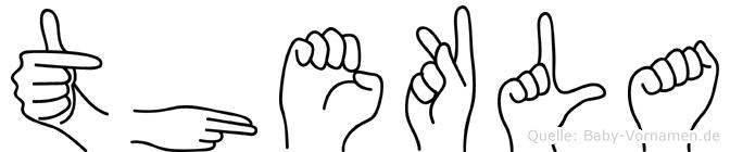 Thekla im Fingeralphabet der Deutschen Gebärdensprache
