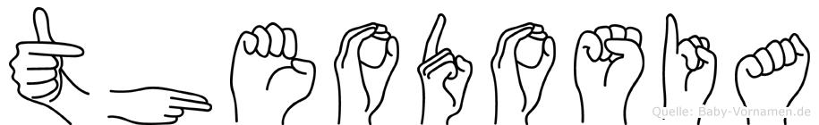 Theodosia im Fingeralphabet der Deutschen Gebärdensprache