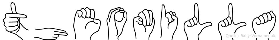 Theomilla im Fingeralphabet der Deutschen Gebärdensprache
