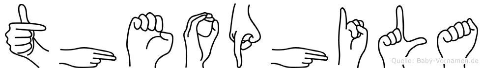 Theophila im Fingeralphabet der Deutschen Gebärdensprache