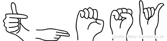 Thesy im Fingeralphabet der Deutschen Gebärdensprache