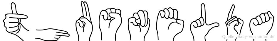 Thusnelda im Fingeralphabet der Deutschen Gebärdensprache