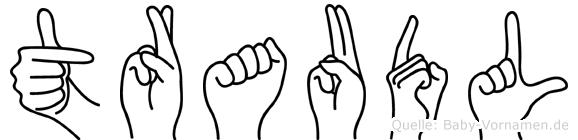 Traudl im Fingeralphabet der Deutschen Gebärdensprache