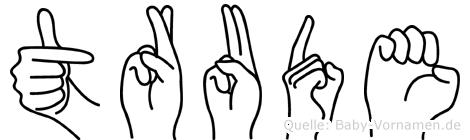 Trude im Fingeralphabet der Deutschen Gebärdensprache
