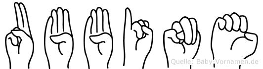 Ubbine im Fingeralphabet der Deutschen Gebärdensprache