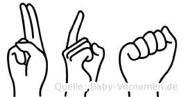 Uda in Fingersprache für Gehörlose