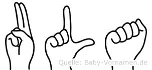 Ula im Fingeralphabet der Deutschen Gebärdensprache
