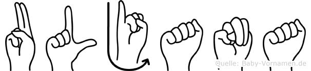 Uljana im Fingeralphabet der Deutschen Gebärdensprache