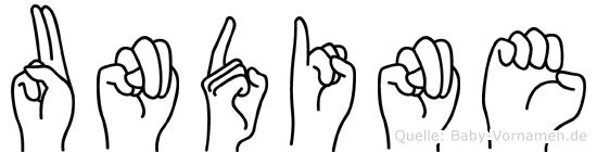 Undine im Fingeralphabet der Deutschen Gebärdensprache