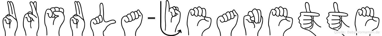 Ursula-Jeanette im Fingeralphabet der Deutschen Gebärdensprache